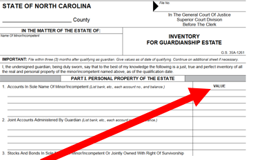 Example of Inventory for Guardianship Estate form top section.